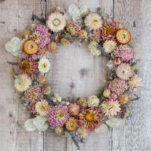 """Dried wreath 12"""" Garden Party"""